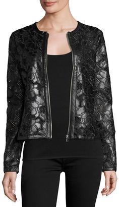 P. Luca Floral-Print Vegan Leather Jacket, Black $199 thestylecure.com