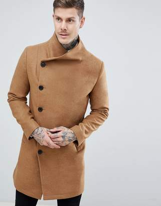 Religion funnel neck coat in camel