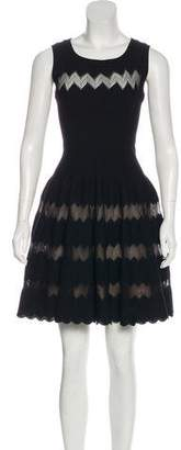 Alaia Lace-Accented Fit and Flare Dress