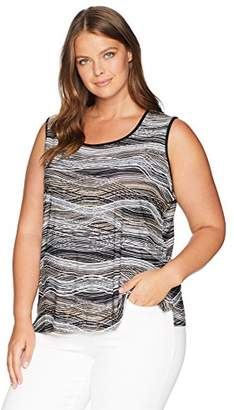 Kasper Women's Plus Wavy Ity Double U-Neck Tank