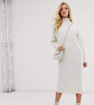 Micha Lounge high neck jumper dress in wide rib knit