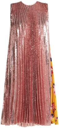 MSGM Pleated sequin & floral-print dress