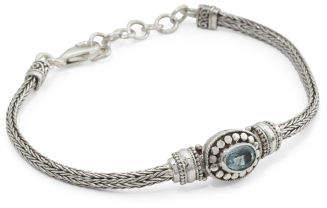 Made In Bali Sterling Silver Blue Topaz Filigree Bracelet