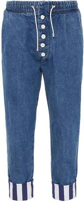 Sunnei Stripe roll cuff button fly jeans