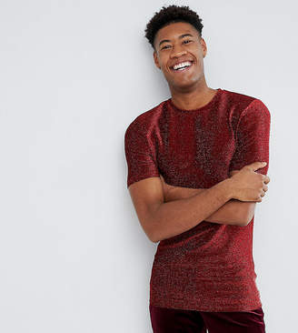 Asos Design TALL Longline Muscle T-Shirt In Red Metallic Fabric