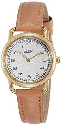 Burgi レディースbur121tnゴールド調Watch with Genuineレザーストラップ