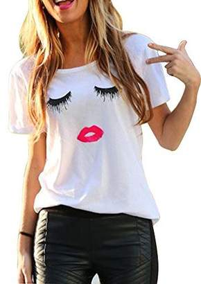 FV RELAY Women's Summer Cute Eyelash Lip Print Tee Casual Teen Girls T Shirts (S, )