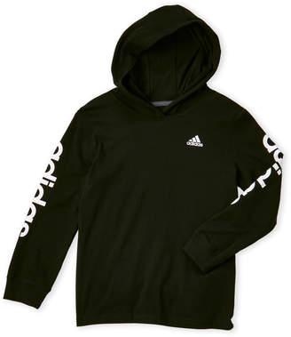 adidas Boys 4-7) Black Hooded Tee