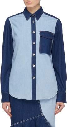 Comme Moi Chest pocket colourblock patchwork denim shirt