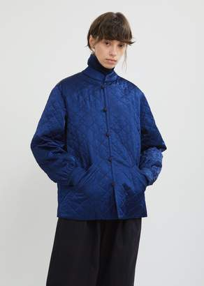 Blue Blue Japan Quilted Satin Stand Collar Jacket