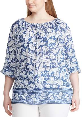 Chaps Plus Size Blue Pearl Woven Tunic