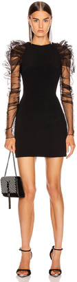 Cushnie Pleated Tulle Mini Dress in Black | FWRD