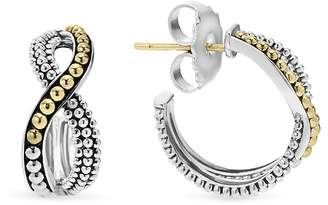 Lagos Sterling Silver Hoop Earrings with 18K Gold Caviar Beading