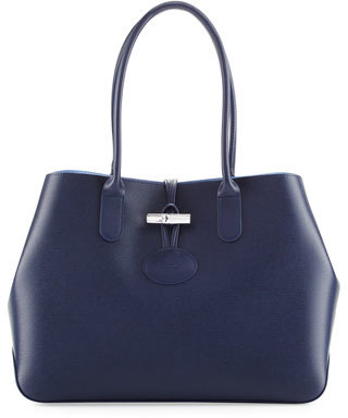 Longchamp Roseau Reversible Leather Shoulder Tote Bag $525 thestylecure.com