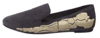 Mara and Mine Suede Embroidered Flats