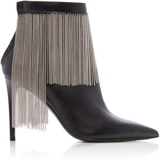 Balmain Mercy Chain-Fringe Leather Booties