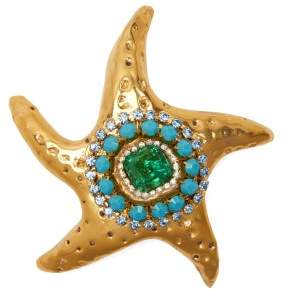 Sonia Boyajian - Abigail Crystal Starfish Brooch - Womens - Blue