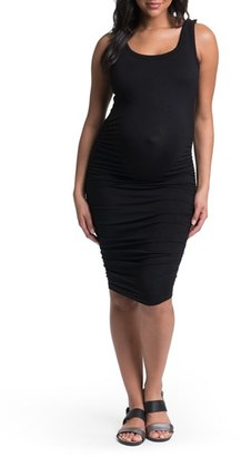 Women's Bun Maternity Ruched Midi Tank Maternity Dress $84 thestylecure.com