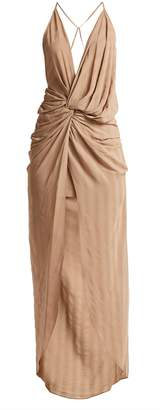 Jacquemus V-neck ruched crepe dress