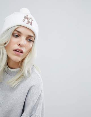 New Era Ribbed Beanie with Rose Gold NY Embroidery