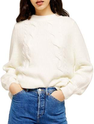 Topshop Diagonal Cable-Knit Sweater