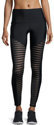 Onzie Fierce Mesh-Stripe Leggings, Black $74 thestylecure.com