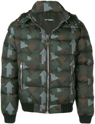Les Hommes arrows-print puffer jacket