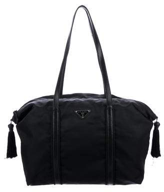 Prada Leather Strap Nylon Tote