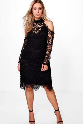boohoo Plus Crochet Lace Open Shoulder Midi Dress