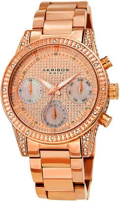 Akribos XXIV Women's Stainless Steel Diamond Accent Watch