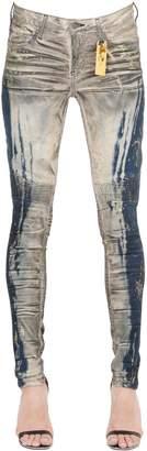 Slim Washed Denim Biker Jeans