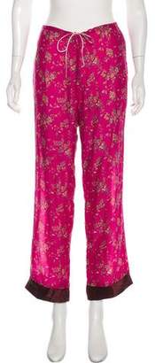 Tracy Feith Silk Floral Print High-Rise Pants