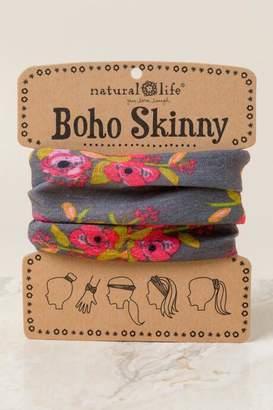 francesca's Boho Skinny in Charcoal Blooms - Gray