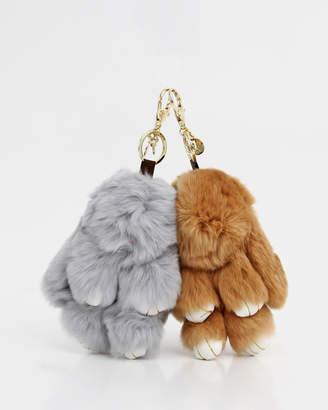 Belle & Bloom Faux Fur Bunny Key Ring 2 Pack