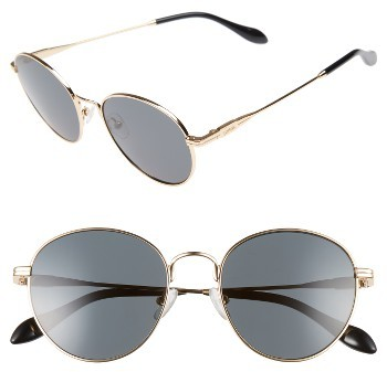 Women's Sonix Ace 51Mm Round Sunglasses - Gold Wire/ Black Solid