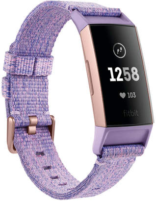 Fitbit Charge 3 Unisex Interchangeable Lavender/Rose Gold-Tone Fabric & Black Elastomer Strap Smart Watch 22.7mm - A Special Edition