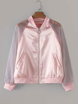 Shein Mesh Panel Raglan Sleeve Metallic Jacket