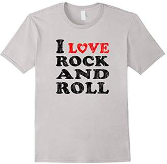 I Love Rock and Roll T-Shirt Gift Black Distressed Design