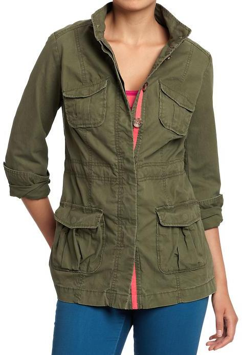 Women's Drawstring Military Jackets