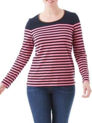 Olsen Nordic Mood Striped Lurex-Neckline Tee