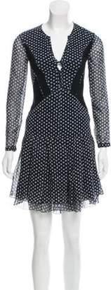 Burberry Silk Floral Print Dress w/ Tags Navy Silk Floral Print Dress w/ Tags