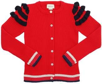 Gucci Ruffle Wool Rib Knit Cardigan W/ Stripes