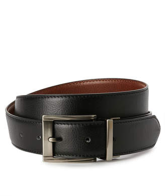 Bosca Pebbled Black & Tan Reversible Leather Belt