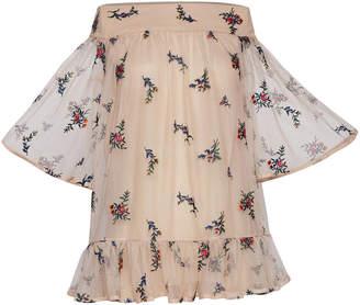 Rahul Mishra Bouquet Chiffon Ruffle Mini Dress