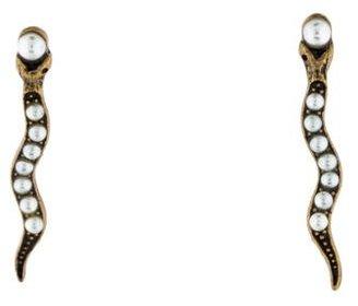 Lulu Frost Faux Pearl Serpent Earrings $75 thestylecure.com