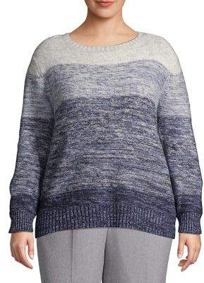 Vince Camuto Plus Ombre Bubble Sleeve Wool-Blend Sweater