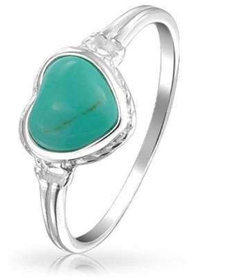 Bling Jewelry Reconstituted Turquoise Heart Sterling Silver Ring