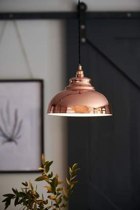 Easy Fit Dome Light Fitting Ceiling Shade Metal Beaten Copper 26cm Diameter NEW Light