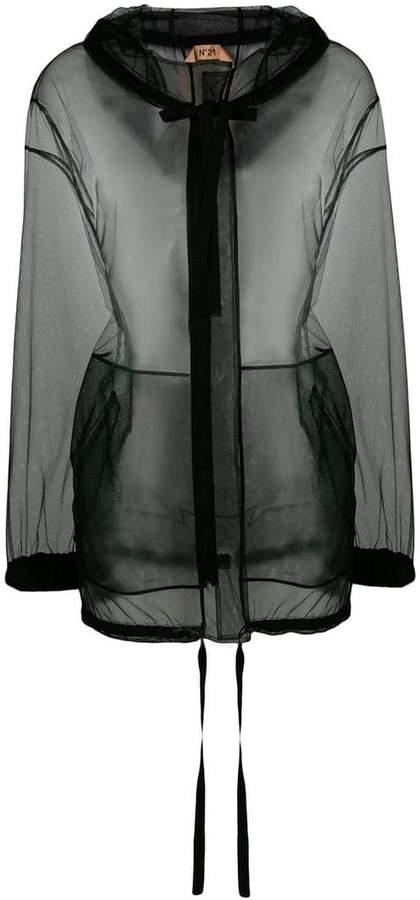 sheer hooded jacket