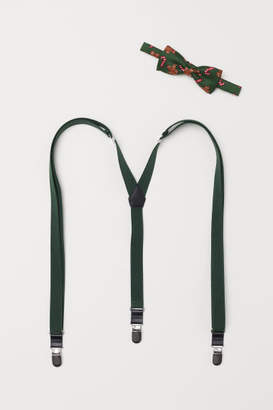 H&M Suspenders and Bow Tie - Green